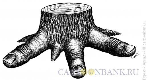 Карикатура: пень, Гурский Аркадий
