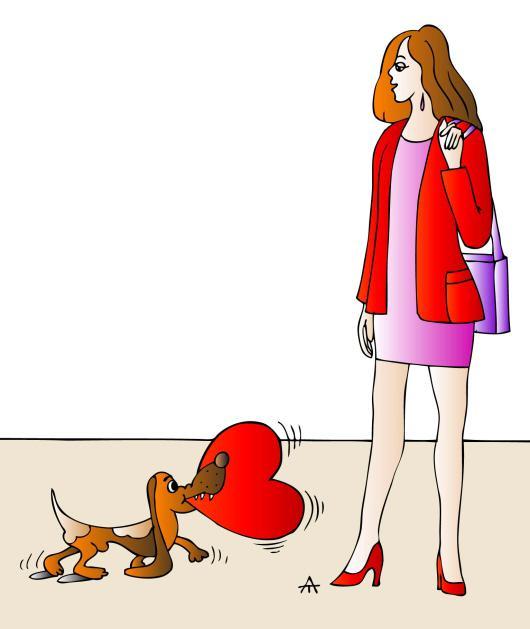 Карикатура: Девушка и собака, Алексей Талимонов