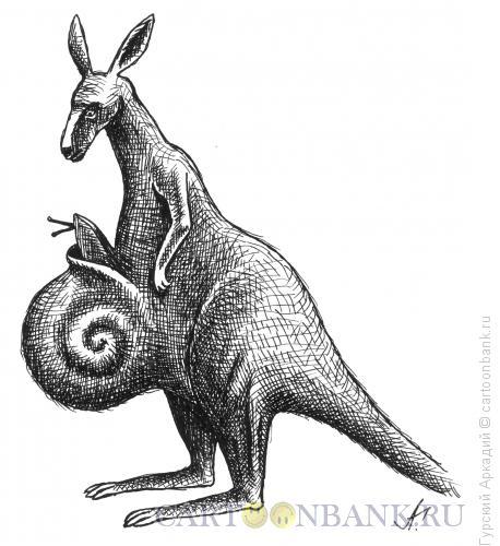 Карикатура: кенгуру с улиткой, Гурский Аркадий