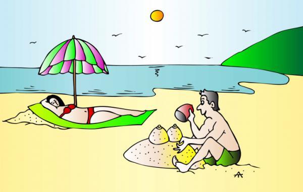 Карикатура: На пляже, Алексей Талимонов
