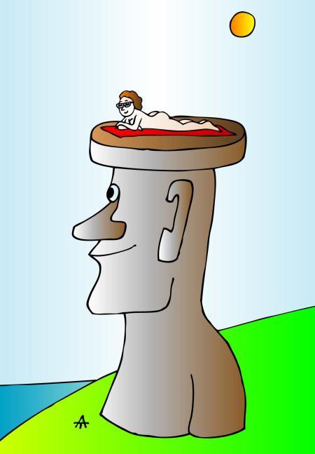 Карикатура: Остров Пасхи, Алексей Талимонов