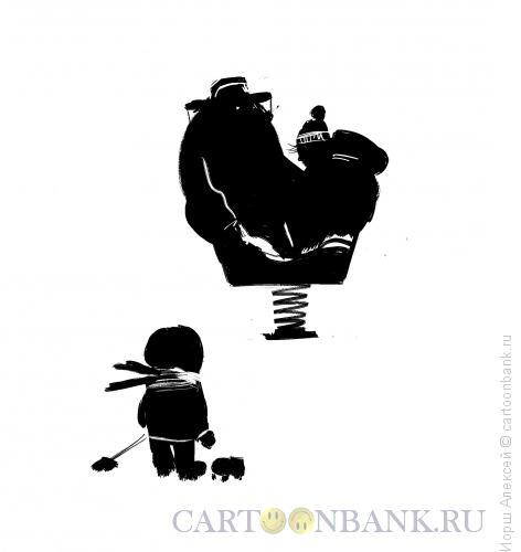 Карикатура: На детской площадке, Иорш Алексей