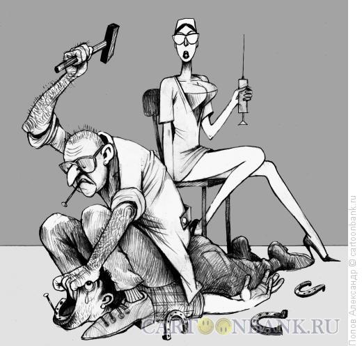 Карикатура: У стоматолога. Сон больного., Попов Александр