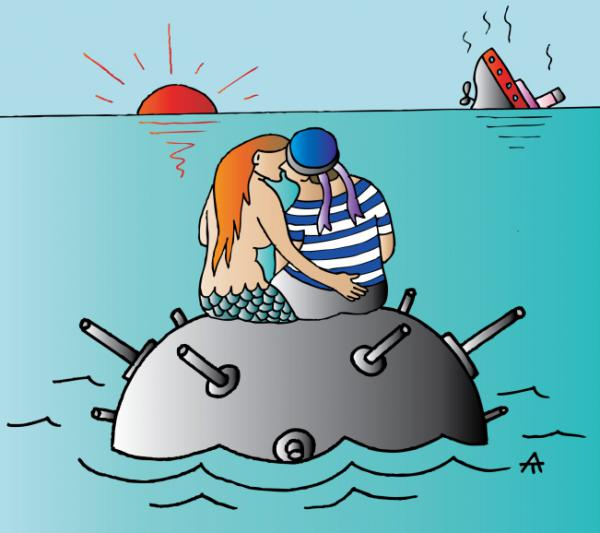 Карикатура: Русалка и моряк, Алексей Талимонов