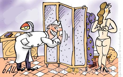 Карикатура: Подглядывающий, Цыганков Борис