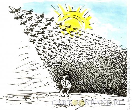 Карикатура: Грачи прилетели, Эренбург Борис