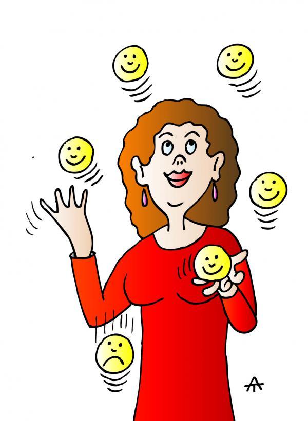 Карикатура: Жонглирующая женщина, Алексей Талимонов