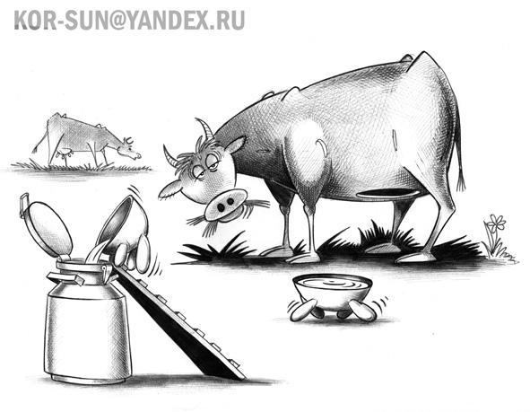Карикатура: Корова, Сергей Корсун