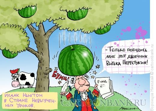 Карикатура: Ньютон, Воронцов Николай