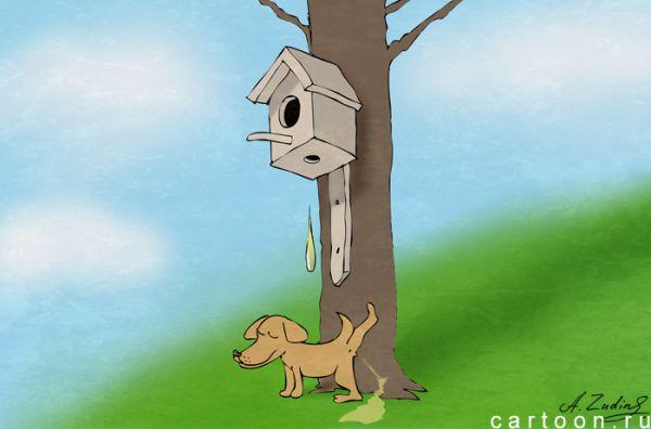 Карикатура: Скворцы прилетели, Александр Зудин