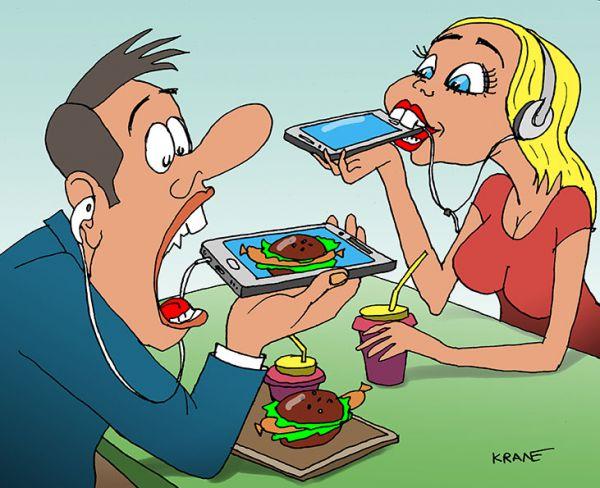 Карикатура: Смартфон с сосиськой, Евгений Кран
