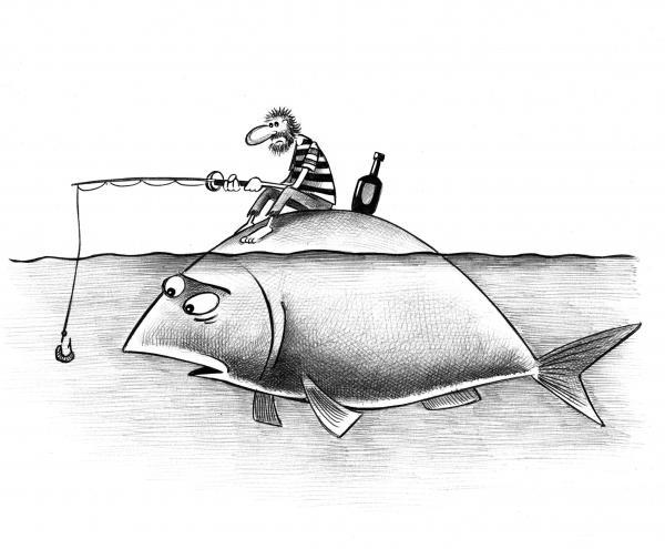 Карикатура: Рыбак, Сергей Корсун