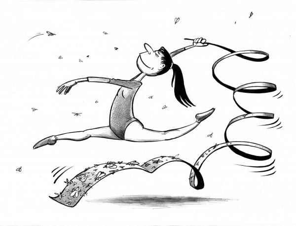 Карикатура: Гимнастка, Сергей Корсун