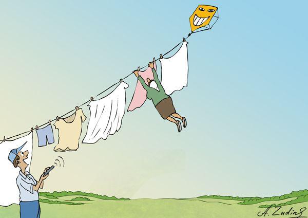 Карикатура: Змей воздушный, Александр Зудин