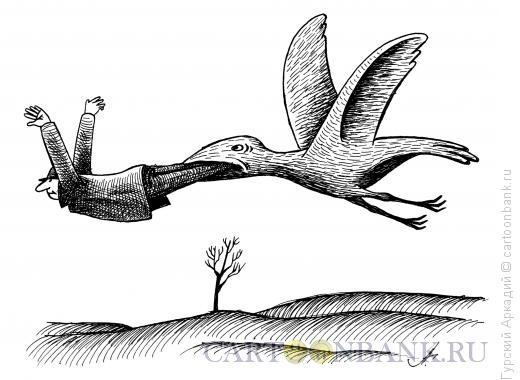 Карикатура: птица с человеком, Гурский Аркадий