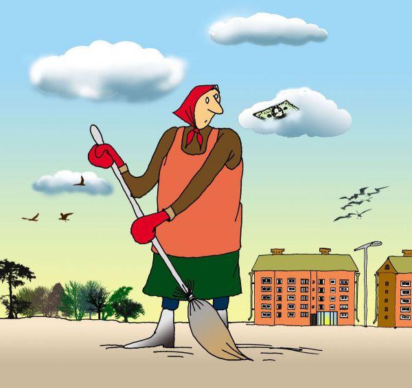 Карикатура: Хоть бы доллар найти!, Николай Кинчаров