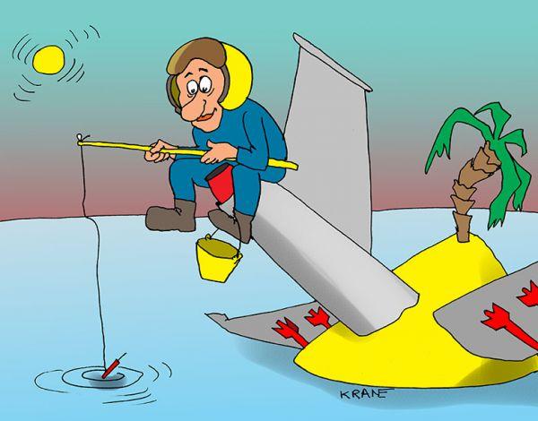 Карикатура: Прилетевший рыбак, Евгений Кран