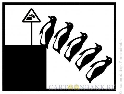 Карикатура: пингвины и потепление воды, океан, Копельницкий �горь