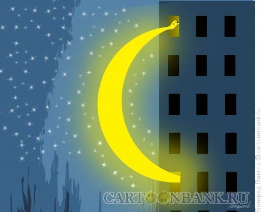 Карикатура: Любопытный месяц, Богорад Виктор