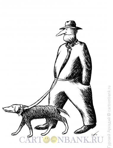 Карикатура: собака в ошейнике, Гурский Аркадий