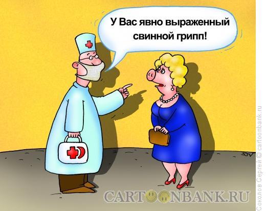 Карикатура: свиной грипп, Соколов Сергей