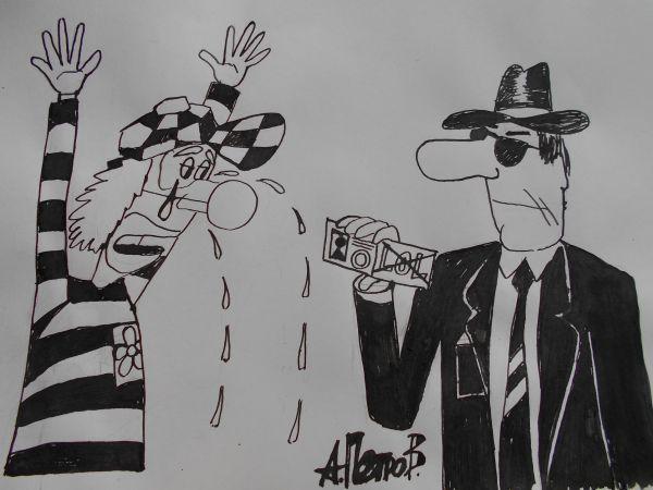 Карикатура: Человек  с удостоверением, Петров Александр