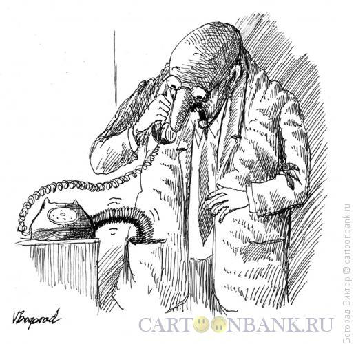 Карикатура: Повышение тарифа на телефон, Богорад Виктор