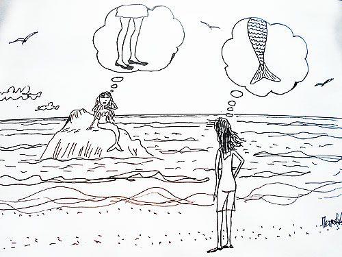 Карикатура: Русалка и девушка, Петров Александр
