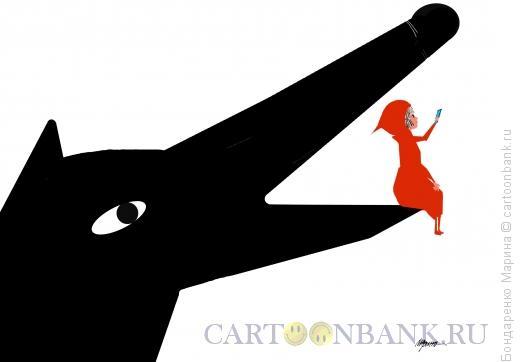 Карикатура: Красная шапочка , Волк и Сэлфи, Бондаренко Марина