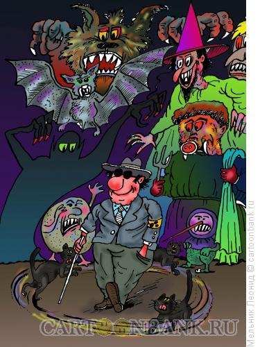 Карикатура: Слепец, Мельник Леонид
