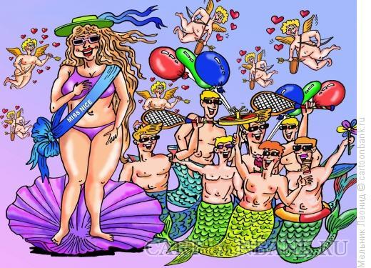 Карикатура: Отдых на средиземноморье, Мельник Леонид
