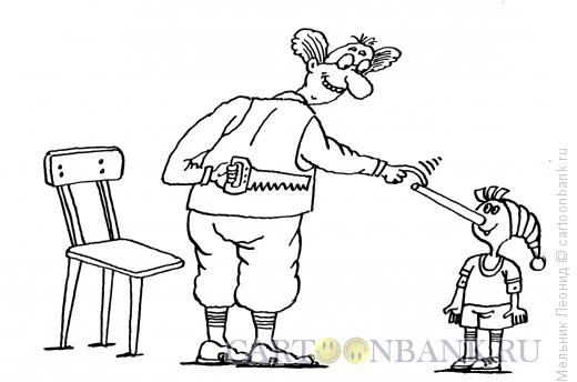 Карикатура: Безносый Буратино, Мельник Леонид