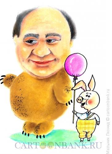 Карикатура: Евгений Леонов, великий Винни-Пух, Мельник Леонид