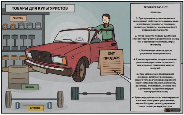 Карикатура: ВАЗ 2107 - мечта культуриста