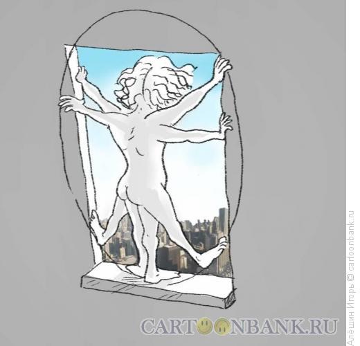 Карикатура: витрувианский человек, Алёшин Игорь