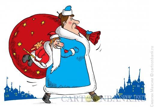 Карикатура: Дед Карлсон и Фрекен Снег, Смагин Максим