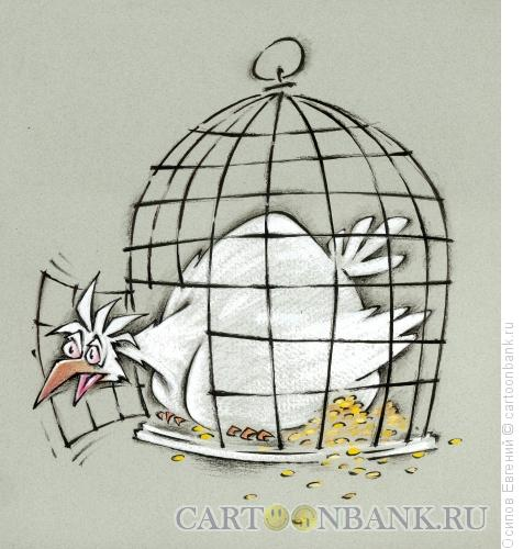 Карикатура: клетка открыта - лети, Осипов Евгений