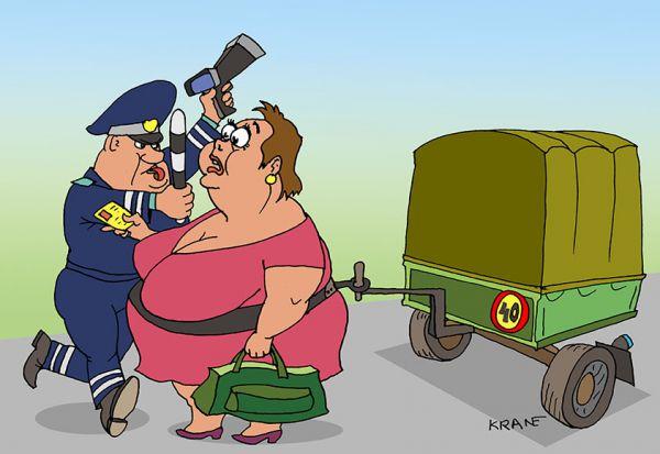 Карикатура: Женщина в магазин спешила, Евгений Кран