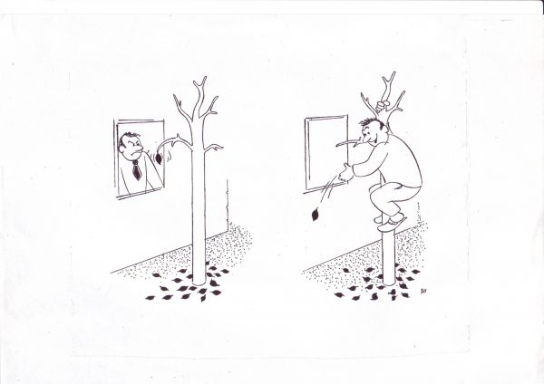 Карикатура: Перфекционист, Зеркаль Николай Фомич