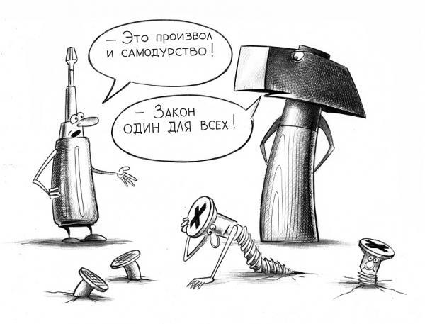 Карикатура: Закон один для всех, Сергей Корсун