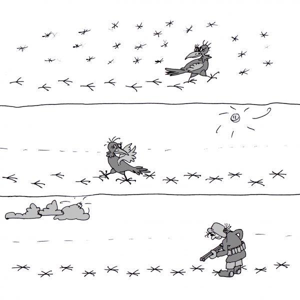 Карикатура: По первому снегу. Или следопыт., Юрий Санников