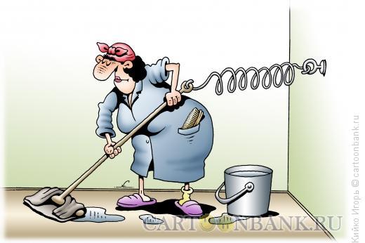 Карикатура: Уборщица, Кийко Игорь