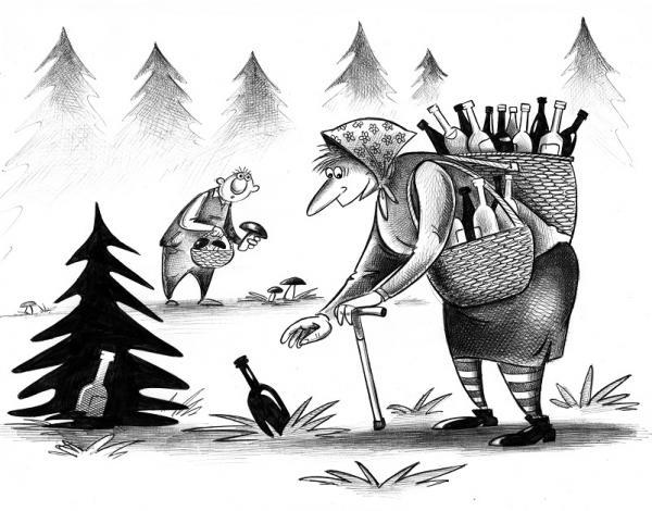 Карикатура: Грибники, Сергей Корсун