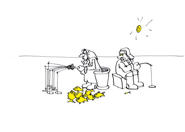Карикатура: Зимняя рыбалка, Юрий Санников