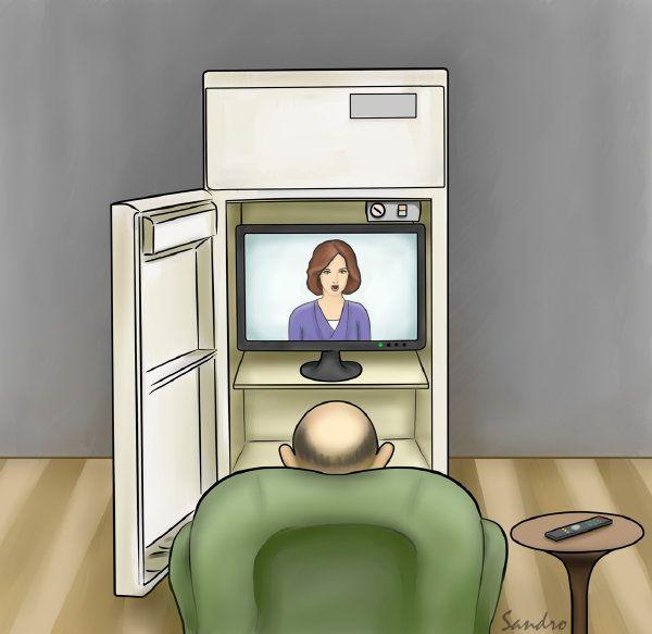 Карикатура: Телевизор и холодильник, Сандро