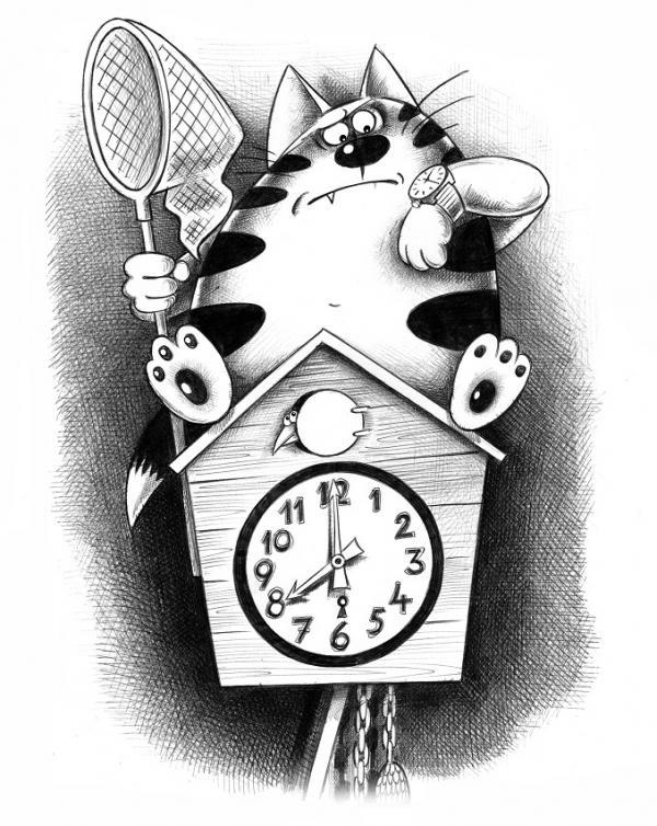 Карикатура: Часы с кукушкой, Сергей Корсун