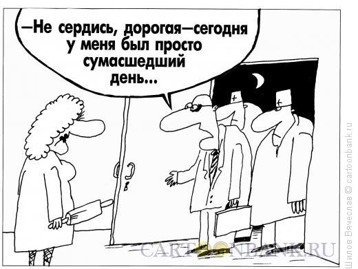 Карикатура: Сумасшедший день, Шилов Вячеслав