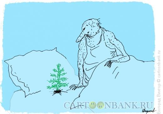 Карикатура: В постели родилась елочка..., Богорад Виктор