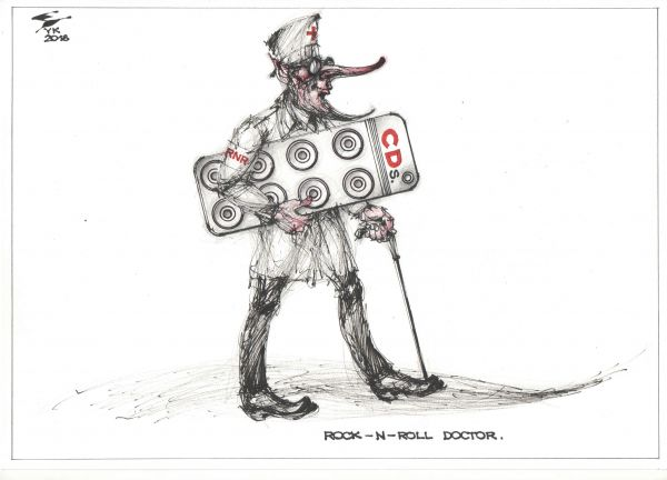 Карикатура: ROCK - N - ROLL DOCTOR . Была такая песня у BLACK SABBATH., Юрий Косарев