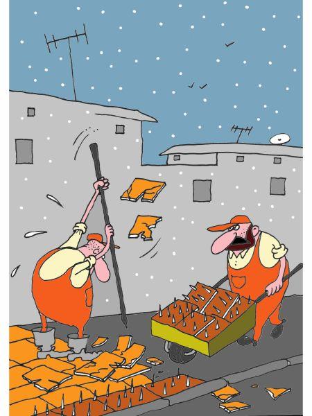 Карикатура: Первый снег, Михаил ларичев